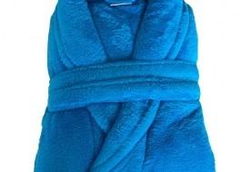 Halat de baie pufos tip cocolino, marime XL, albastru
