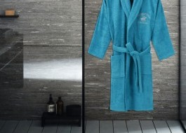 Halat de baie unisex bumbac, marime M/L, Beverly Hills Polo Club, Turcoaz