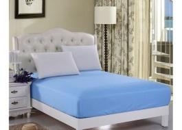 Husa de pat cu elastic 100x200cm albastru
