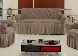 Husa elastica din bumbac elasticizat, cu volan, pentru canapea 2 locuri, Bej