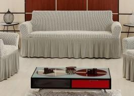 Husa elastica din bumbac elasticizat, cu volan, pentru canapea 2 locuri, Gri deschis