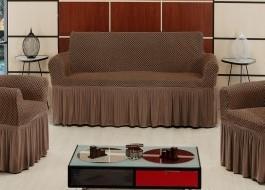 Husa elastica din bumbac elasticizat, cu volan, pentru canapea 2 locuri, Maro inchis