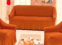 Husa elastica din material creponat, cu volan, canapea 2 locuri, Caramiziu(6080)