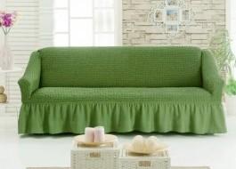 Husa elastica din material creponat, cu volan, canapea 2 locuri, Verde(6016)