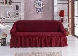 Husa elastica din material creponat, cu volan, pentru canapea 2 locuri, Bordo (Red)