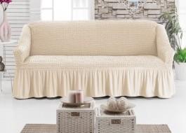 Husa elastica din material creponat, cu volan, pentru canapea 2 locuri, Ecru (Eqru)