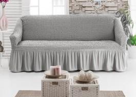Husa elastica din material creponat, cu volan, pentru canapea 2 locuri, Gri (Grey)