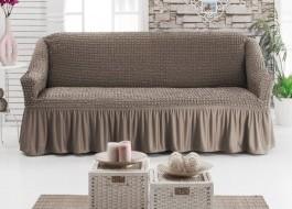 Husa elastica din material creponat, cu volan, pentru canapea 2 locuri, Maro (Light Brown)