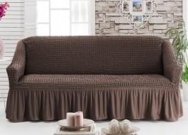Husa elastica din material creponat, cu volan, pentru canapea 2 locuri, Maro inchis (Dark Brown)