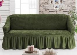 Husa elastica din material creponat, cu volan, pentru canapea 2 locuri, Verde (Green)