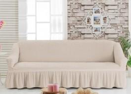 Husa elastica din material creponat, cu volan, pentru canapea 3 locuri, Bej