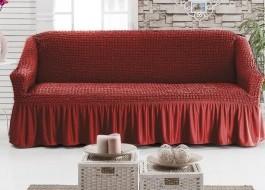Husa elastica din material creponat, cu volan, pentru canapea 3 locuri, Bordo (Red)
