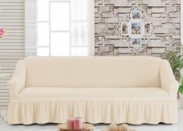 Husa elastica din material creponat, cu volan, pentru canapea 3 locuri, Ecru (Eqru)