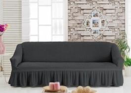 Husa elastica din material creponat, cu volan, pentru canapea 3 locuri, Gri Antracit (Antrasit)
