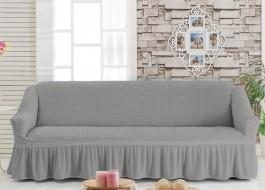 Husa elastica din material creponat, cu volan, pentru canapea 3 locuri, Gri (Grey)