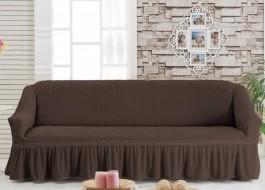 Husa elastica din material creponat, cu volan, pentru canapea 3 locuri, Maro Inchis (Dark Brown)