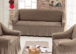 Husa elastica din material creponat, cu volan, pentru canapea 3 locuri, Maro(cafea cu lapte) 6082