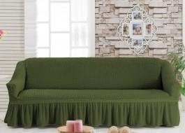 Husa elastica din material creponat, cu volan, pentru canapea 3 locuri, Verde (Green)