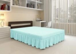 Husa elastica din material creponat, cu volan, pentru pat + 2 fete perna, Bleu Gri