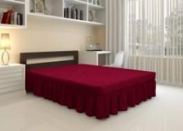 Husa elastica din material creponat, cu volan, pentru pat + 2 fete perna, Bordo