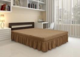 Husa elastica din material creponat, cu volan, pentru pat + 2 fete perna, Maro (Cafea cu Lapte)