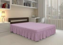 Husa elastica din material creponat, cu volan, pentru pat + 2 fete perna, Lila Pudra