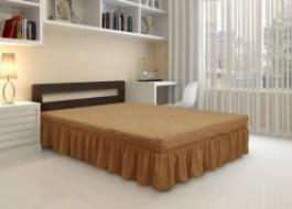 Husa elastica din material creponat, cu volan, pentru pat + 2 fete perna, Maro Coniac