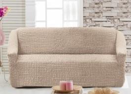 Husa elastica din material creponat, pentru canapea 2 locuri, Bej (Light Grey)