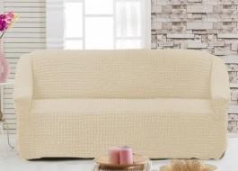Husa elastica din material creponat, pentru canapea 2 locuri, Ecru (Eqru)