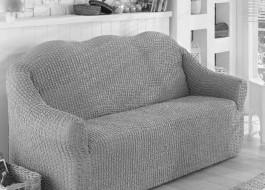 Husa elastica din material creponat, pentru canapea 2 locuri, Gri deschis (Grey)