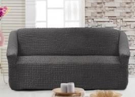 Husa elastica din material creponat, pentru canapea 2 locuri, Gri Antracit (Antrasit)