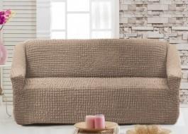 Husa elastica din material creponat, pentru canapea 2 locuri, Maro deschis (Taupe)