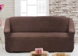 Husa elastica din material creponat, pentru canapea 2 locuri, Maro Inchis (Dark Brown)