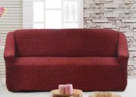 Husa elastica din material creponat, pentru canapea 2 locuri, Bordo (Red)