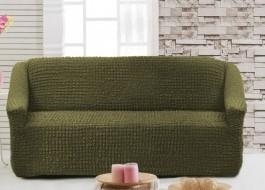 Husa elastica din material creponat, pentru canapea 2 locuri, Verde (Green)