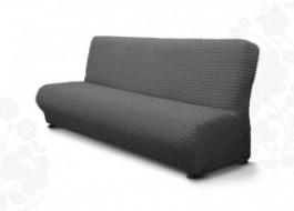 Husa elastica din material creponat, pentru canapea 3 locuri fara brate, Gri Antracit