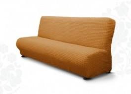 Husa elastica din material creponat, pentru canapea 3 locuri fara brate, Maro (Coniac)