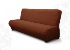 Husa elastica din material creponat, pentru canapea 3 locuri fara brate, Maro inchis