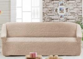 Husa elastica din material creponat, pentru canapea 3 locuri, Bej (Light Grey)