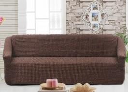 Husa elastica din material creponat, pentru canapea 3 locuri, Maro Inchis (Dark Brown)