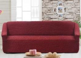 Husa elastica din material creponat, pentru canapea 3 locuri, Bordo (Red)