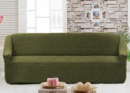Husa elastica din material creponat, pentru canapea 3 locuri, Verde (Green)