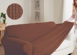 Husa elastica pentru canapea de 2 locuri culoarea maro