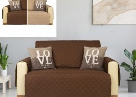 Husa matlasata canapea 2 locuri, reversibila, Maro/Bej