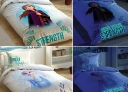 Lenjerie pat 1 persoana cu 2 fete si elemente fosforescente,TAC Disney, Frozen 2 Glow