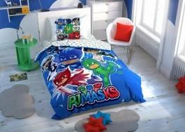 Lenjerie de pat 1 persoana cu elemente fosforescente,TAC Disney 3 piese, Eroi in Pijamale