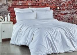 Lenjerie de pat 1 persoana satin de lux, Club Cotton, Stripe Alb