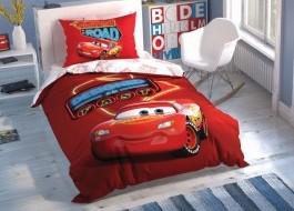 Lenjerie de pat 1 persoana, TAC Disney 3 piese, Cars Shiny Road