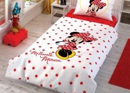 Lenjerie de pat 1 persoana,TAC Disney 3 piese, Minnie Calinder
