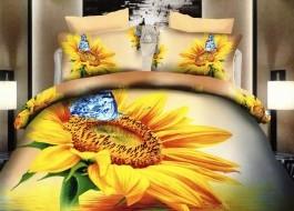 Lenjerie de pat 3D digital print, Ralex Pucioasa, Floarea Soarelui A2 + fata de masa cadou Natur 140x220cm